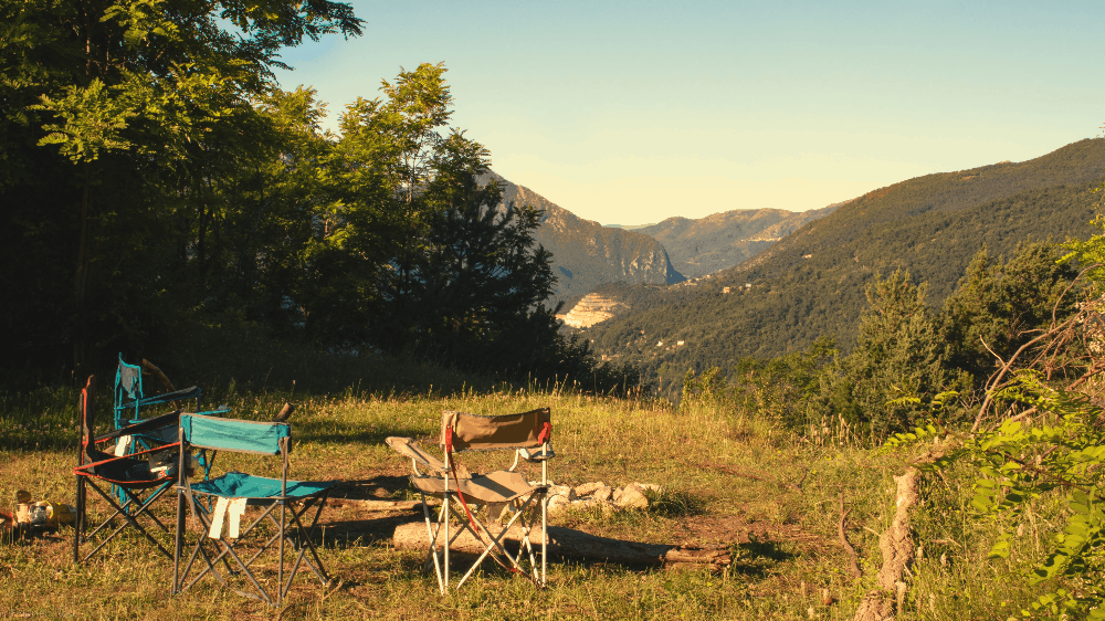 camping chairs on an open plain