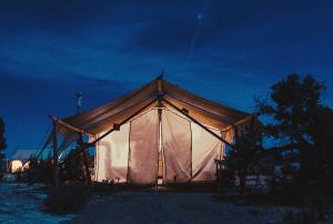 cabin tent at dusk