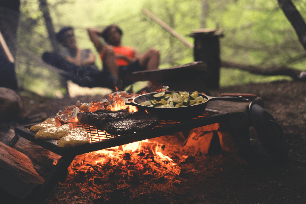 food cooking over an open fire