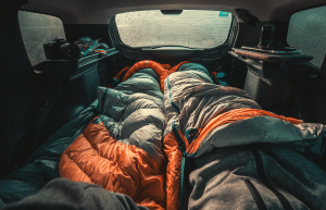 sleeping bags in a car