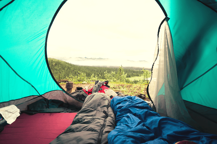 two sleeping bags in a tent