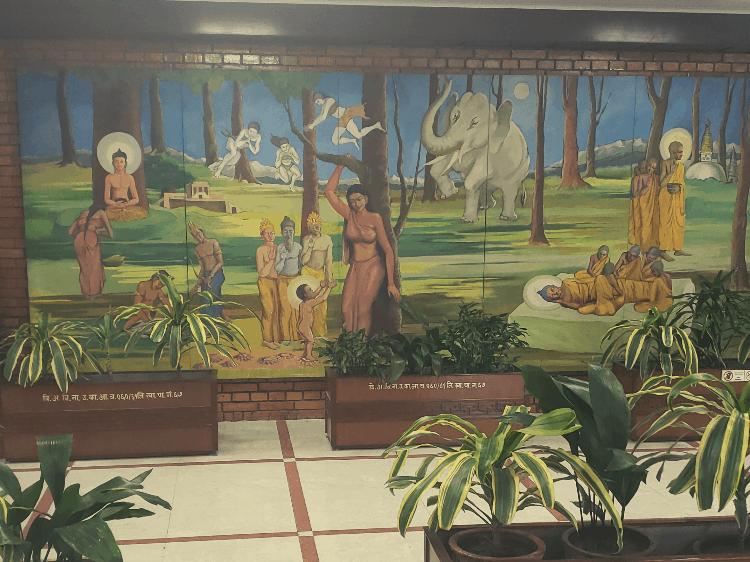 mural in kathmandu airport