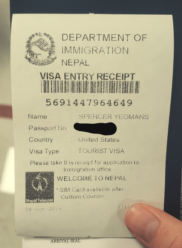 immigration receipt