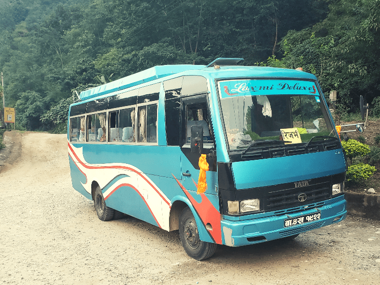 blue bus in nepal