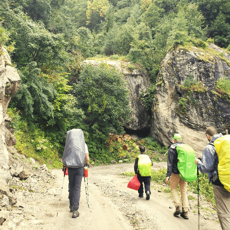 hikers walking through Nepal