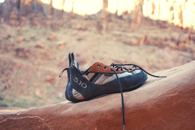 climbing shoe on a rock