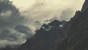 himalayan mountains at dusk