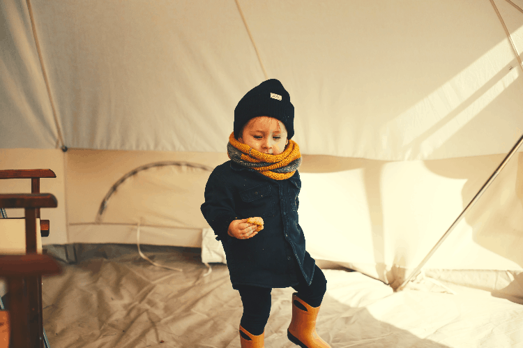 camping with kids in a tent