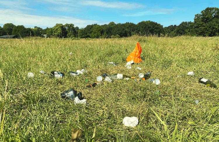 trash left at a campsite