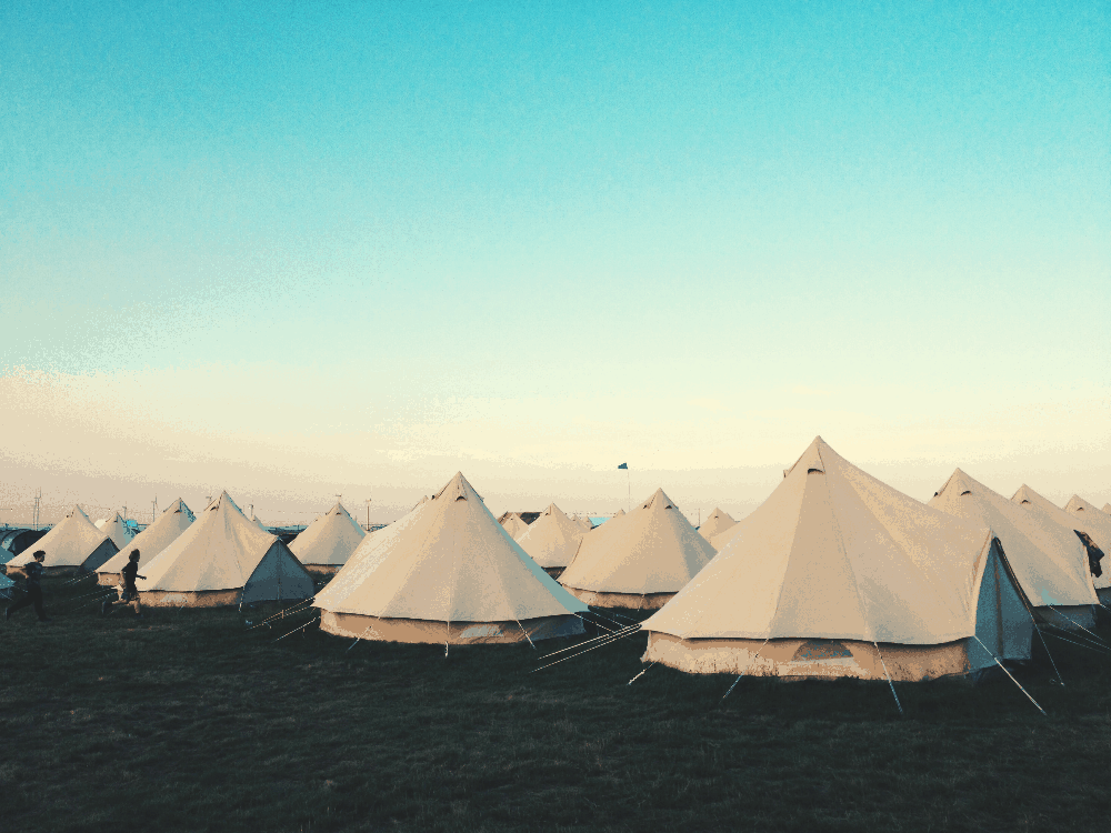 group of canvas tents