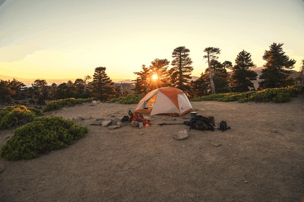 tent setup at a camping site
