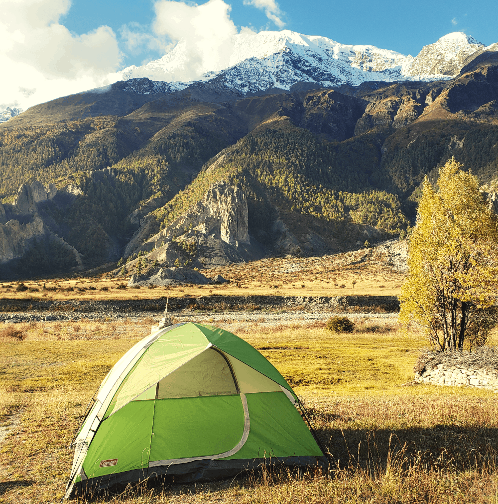 campsite at the base of a mountain in nepal