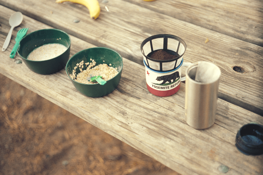 breakfast outside with pour over coffee