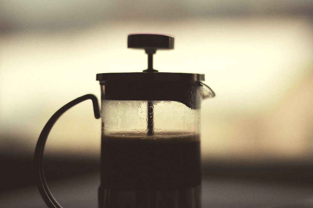 french press filled with coffee