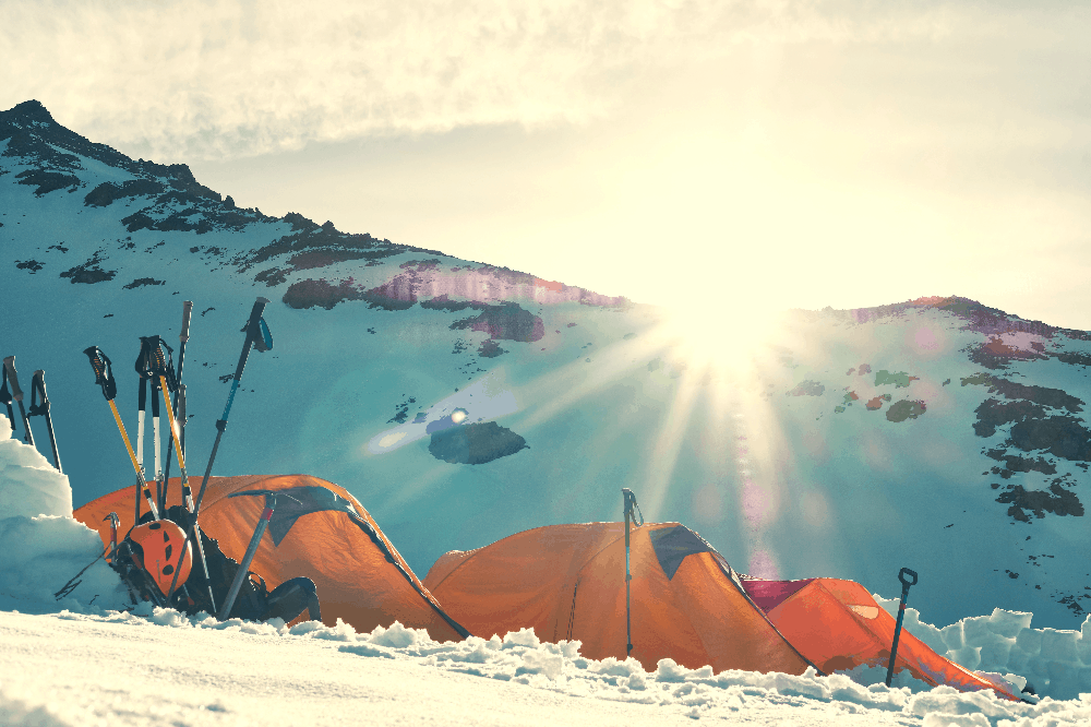 tents in the snow winter camping