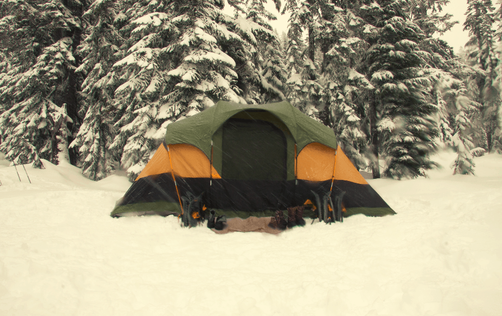 tent in the snow for winter camping