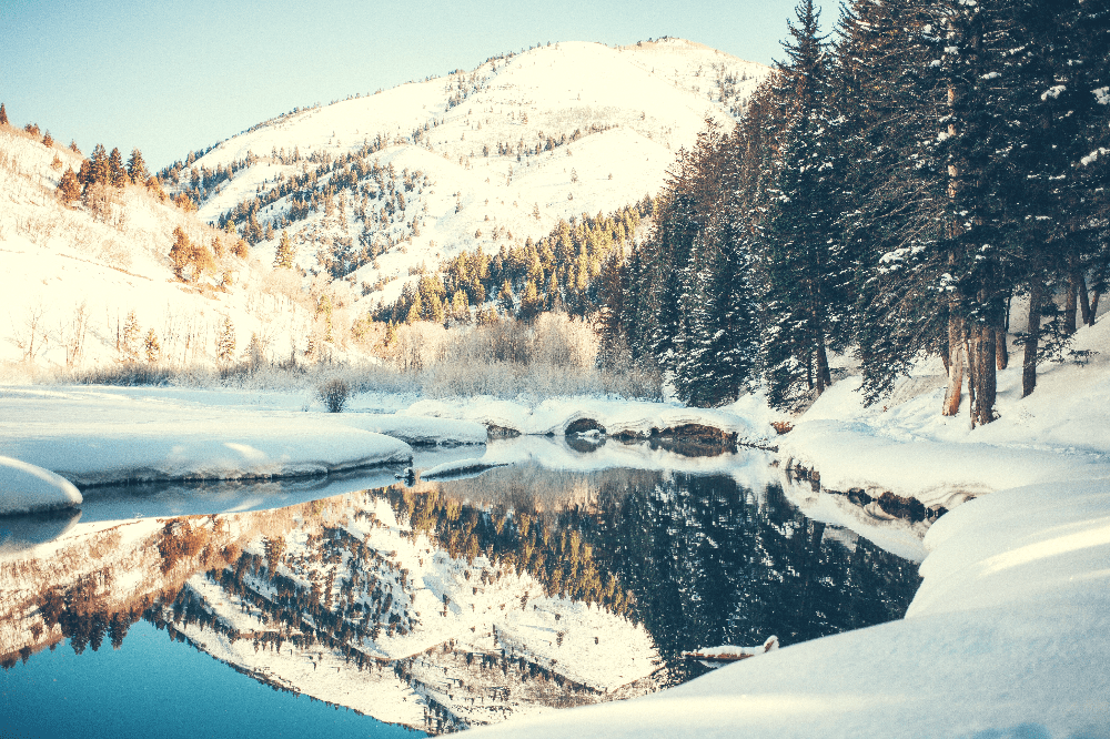 snowy mountains next to a partially frozen lake in winter with pine trees
