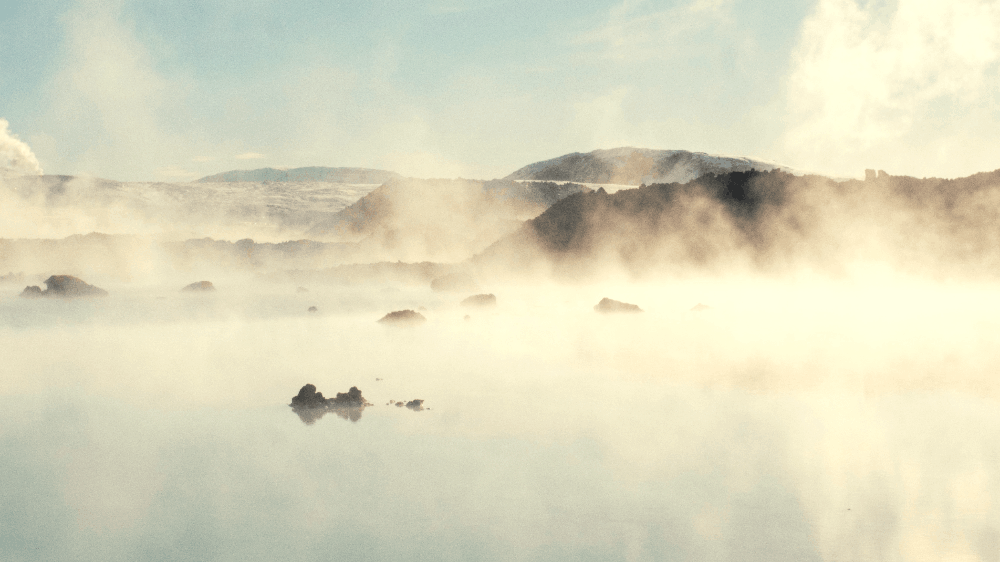 steam rising from hot springs