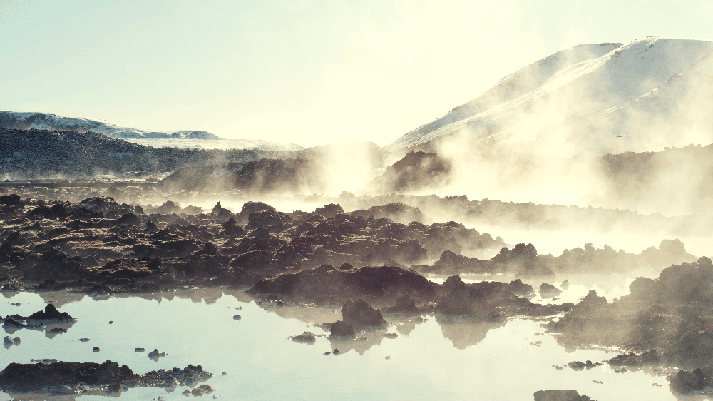 steaming hot spring water