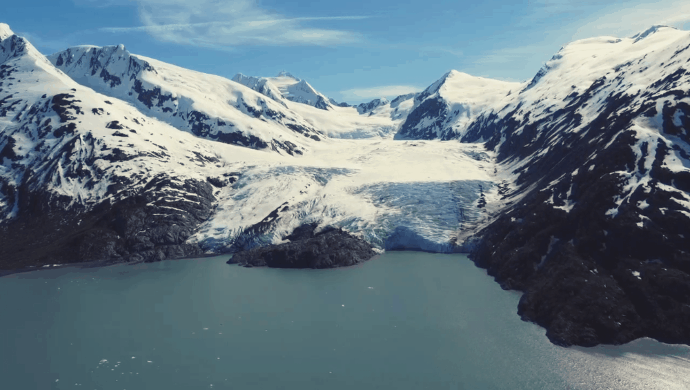 glacier connected to a lake in alaska