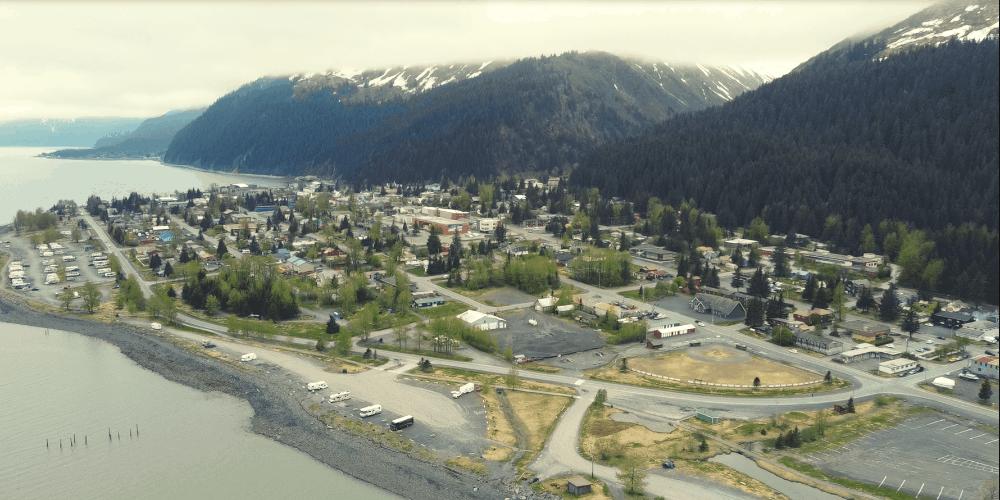 seward alaska drone shot