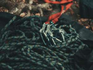 climbing rope and gear laid out