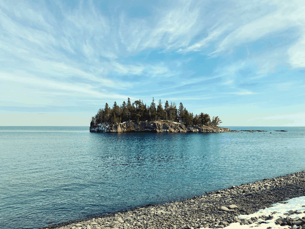 lake superior with an island