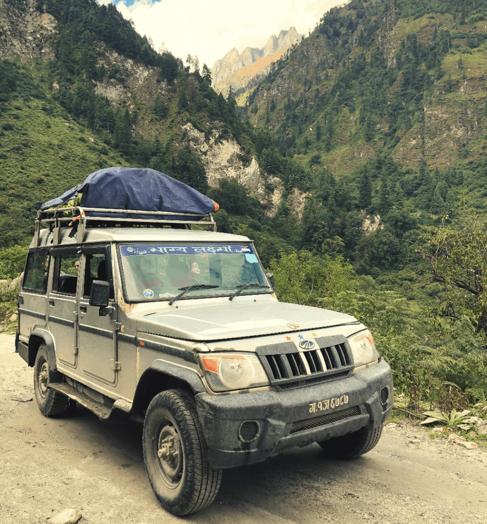 jeep in the nepal mountains