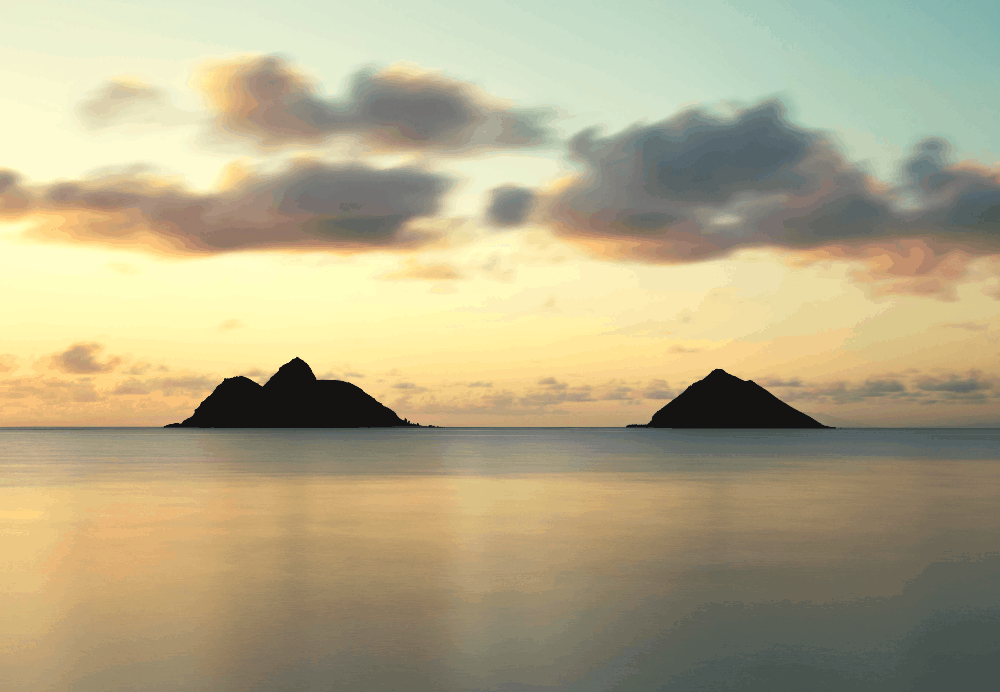 two peaks in the water of hawaii