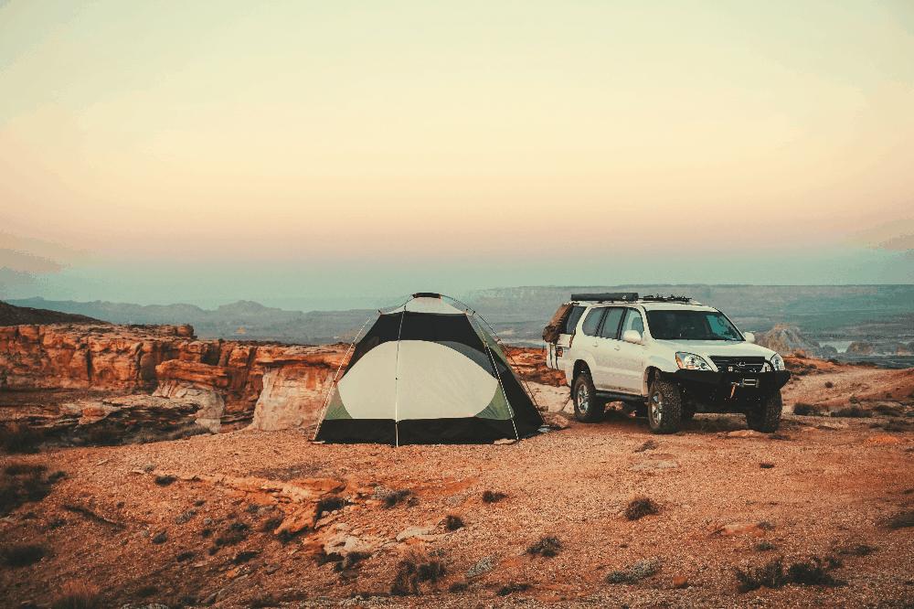 truck and tent in utah desert