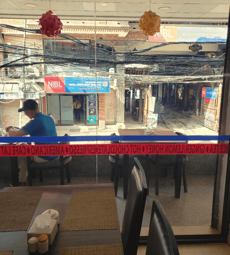 sitting in a restaurant in nepal