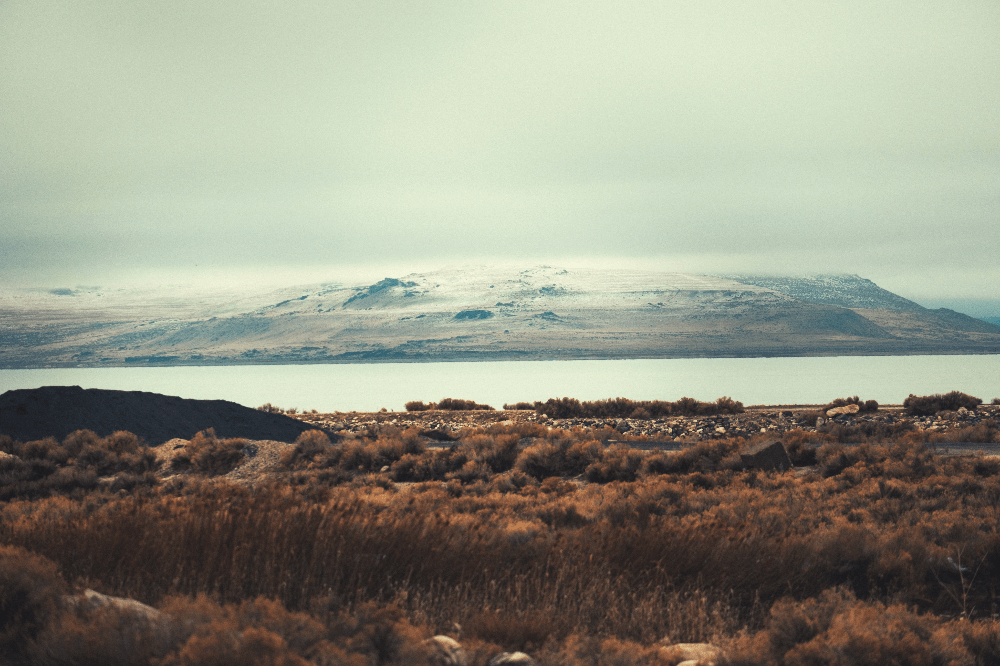 great salt lake under a cloudy sky