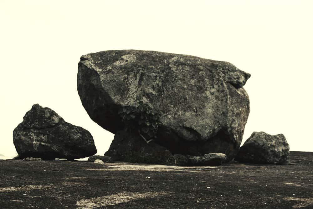 black and white boulder