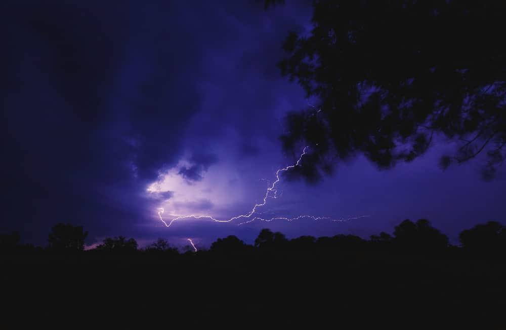 lightning flashing in the night sky