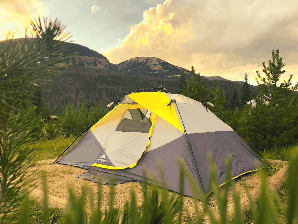 large tent sitting on a campsite