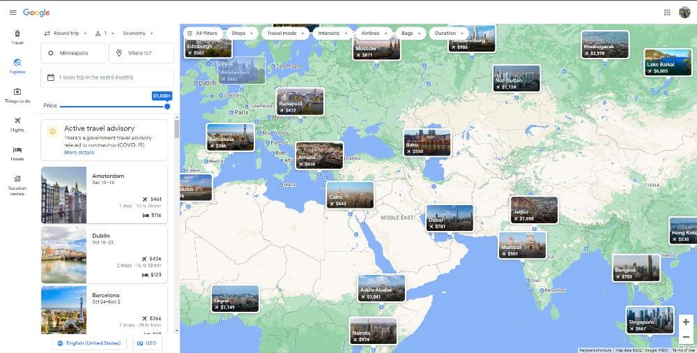 image of google flights map