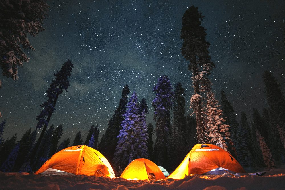 three tents with lanterns next to each other in a forest at night